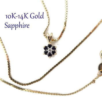 10K Gold Sapphire Diamond Pendant | 14K Gold Cobra Chain Necklace