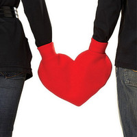 Red Heart Shaped Lovers Mitten Snuggle down for warm romantic walks