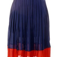 Color Block Pleated Skirt - Retro, Indie and Unique Fashion