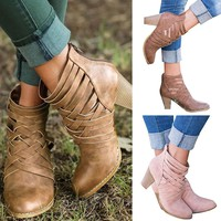 Womens Ankle Boots Chunky Mid Heel Summer Booties Zip Sandals Shoes Size 6-10.5