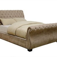 Noemi collection mocha padded corduroy fabric upholstered sleigh bed design button tufted queen bed set
