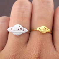 Planet Saturn Shaped Galaxy Universe Space Travel Themed Adjustable Ring
