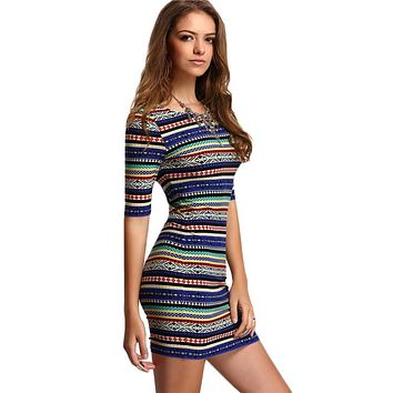Stripe Dresses Sexy Club Multicolor