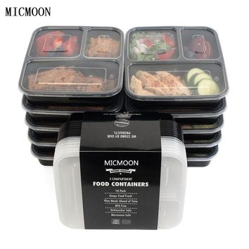 3 Compartment Reusable Plastic Food Storage Containers with Lids, Microwave and Dishwasher Safe, Bento Lunch Box, Set of 5
