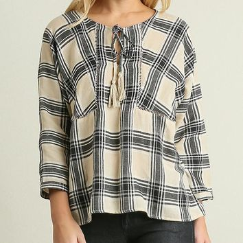 Umgee Cream Plaid Tassel Peasant Top