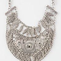 Full Tilt Tribal Etched Bib Necklace Antique Silver One Size For Women 26621158201