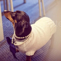 Dog wedding dress, dog special occasion sweater, in white