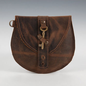 OOAK Rustic Brown Leather Mini Purse, with Antique Skeleton Key, Leather Round Clutch, Coin purse