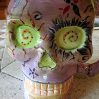 Skull mug large pottery colorful day of the dead cup Día de Muertos