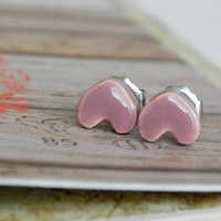 Ceramic Tiny Heart Post Earrings Mauve Pink Hypoallergenic Studs