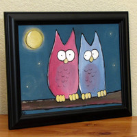 Kids Art Whimsical Owl Painting Childrens Artwork 12 by andralynn