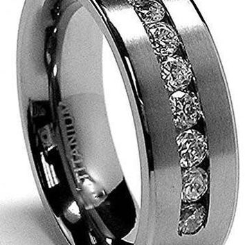 8 MM Men's Titanium ring wedding band with 9 large Channel Set Cubic Zirconia CZ