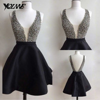Sexy Homecoming Party Dresses Black Stain V-neck Beaded Backless Short Dress Real Photos