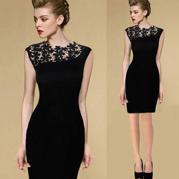 Sexy Women Summer Dress  Lace Flower Slim  Dress  Evening Party Dress = 1828251204