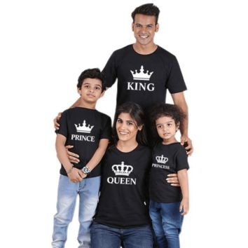 King Queen Prince Princess Printed Family Matching T Shirts