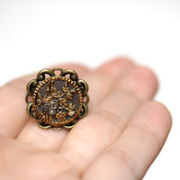"Bamboo Flower Ring, Button Antique Asian Jewelry, Brass Cocktail Ring, Oriental, Chinese, Japanese, Vintage Filigree - ""Beijing Beauty"""