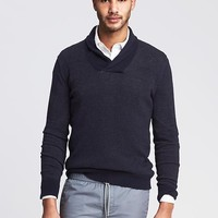 Banana Republic Mens Plaited Shawl Collar Pullover