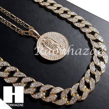 """14k Gold PT Guadalupe Pendant 15mm Iced Out Miami Cuban 30"""" Necklace SET 205G"""
