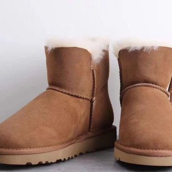 LFMON UGG 1019627 Fringed Pendant Women Men Fashion Casual Wool Winter Snow Boots Chestnut