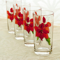 Block SPAL Glasses Poinsettia Watercolors Mary Lou Goertzen Christmas Iced Tea Tumblers Highball Glasses Festive Dining