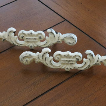 Shabby chic drawer pulls/ dresser knobs/Creamy White or Pick your color/Cottage Chic dresser pulls