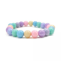 "7"" Kawaii Fairy Kei OTT Lolita Round Stretch Stacking Bracelet Sweet Pastel Light Multicolor Beads"