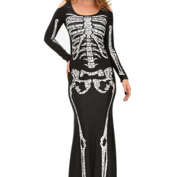 Hu Skeleton Skull Print Dress Off Shoulder Halloween Costumes For Pleated Long Sleeve Bodycon Dress SM6