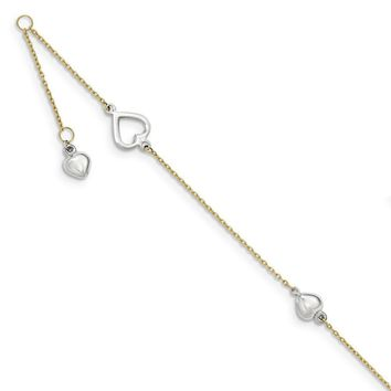 14kt Yellow Gold Two Tone Hollow and Solid Heart Charm Ankle Bracelet