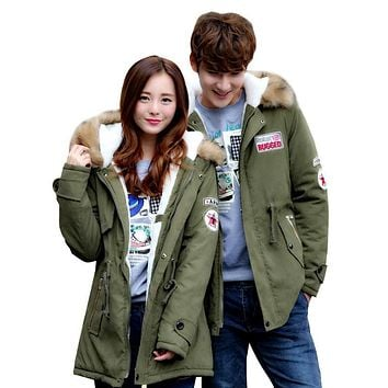Plus Size 4XL Long Cotton Parka Winter Jacket Women Men Couples Coat Hooded Fur Collar Military Jackets Padded Winter Coat C3476