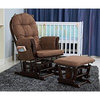 Solid Frame Rocking Chair With Ottoman