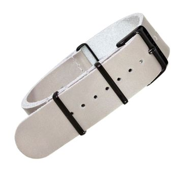 22mm Grey Leather NATO - Black Buckle