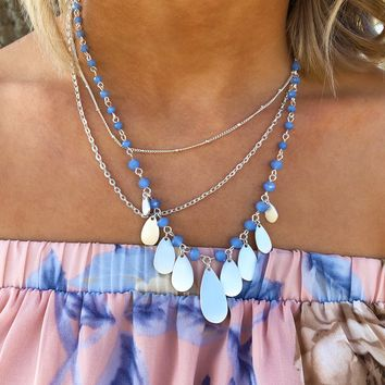 Dropping By Necklace: Silver/Periwinkle