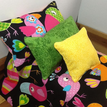 "Doll bedding for 18"" dolls, with colorful toucan birds on black, reverses to orange flower  print, 4 pc set,  3 pillows, little girl gift"