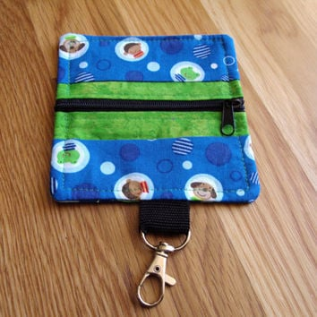 Coin Purse, Kids Purse, Handmade Fabric Pouch, Zipper Coin Purse, Wallet, Lunch Money, Change Pouch, Coin Bag, Clip On Pouch, Frogs, Puppies