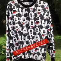 Vtg 90s MIckey Mouse Faces Sweatshirt Slouchy Oversized Unisex Size L// SuzNews Etsy Store