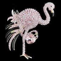 Rare Flamingo Bird Brooch Pin Pink Rhinestone Crystal Enamel