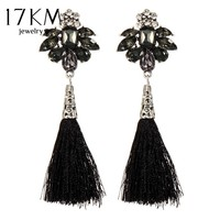 17KM Vintage Pattern Tassel Dangle Earrings for Women Fashion Black Crystal Earring Water Drop Bijoux Bohemian Jewelry boucle