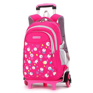 Children Trolley Backpack For Girls Boys Fashion Heart-shaped Pattern wheeled School Bag Detachable Backpack Rolling mochilas