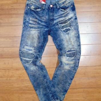 Jordan Craig- Shredded Denim W/ Ribbed Backin (Vintage) / C5