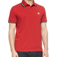 Men's Short-Sleeve Tape-Tipped Polo Shirt, Red - Moncler - Red