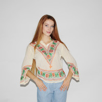 1960s Vintage Indian Cotton Gauze Embroidered Floral Blouse