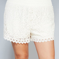 Crochet Trim Floral Lace Shorts | Wet Seal
