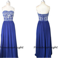 Classy beading strapless Royal Blue Long Prom Dress/ Beaded Formal Dress/ Evening Gown/ Formal Prom Dress/  Long Party Dress