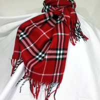 Red Wool Men's Scarf, Red Scarf, Plaid Red Scarf - KR1411001