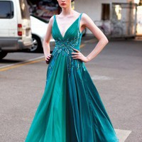 Green A Line V Neck Floor Length Evening Dress by ElliotClaireLondon on Sense of Fashion