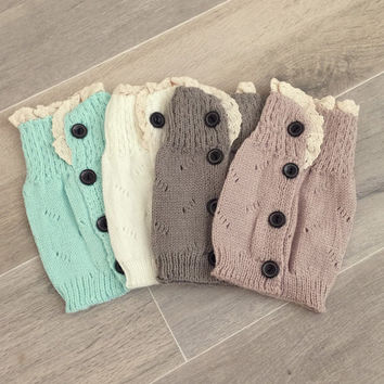 SALE - 4 Pairs of Lace Trim Knitted 4 Buttons Boot Cuffs, Women's Accessories, Boot Topper, Knitted Boot Cuffs, Button Trim Boot Cuffs
