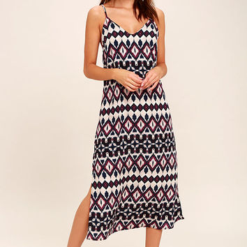 Tahiti Sweetie Navy Blue and Beige Print Midi Dress