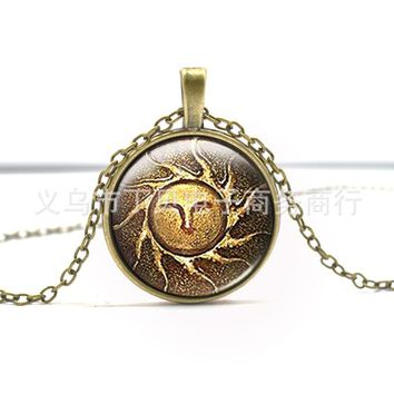 Dark souls glass cabochon dome pendant necklace jewelry