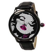 Betsey Johnson BJ00357-15 Women's Marilyn Monroe Graphic Black & White Dial Black Strap Watch
