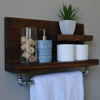 "Industrial Rustic Modern 2 Tier Floating Shelf Bathroom Shelf with 18"" Towel Bar"